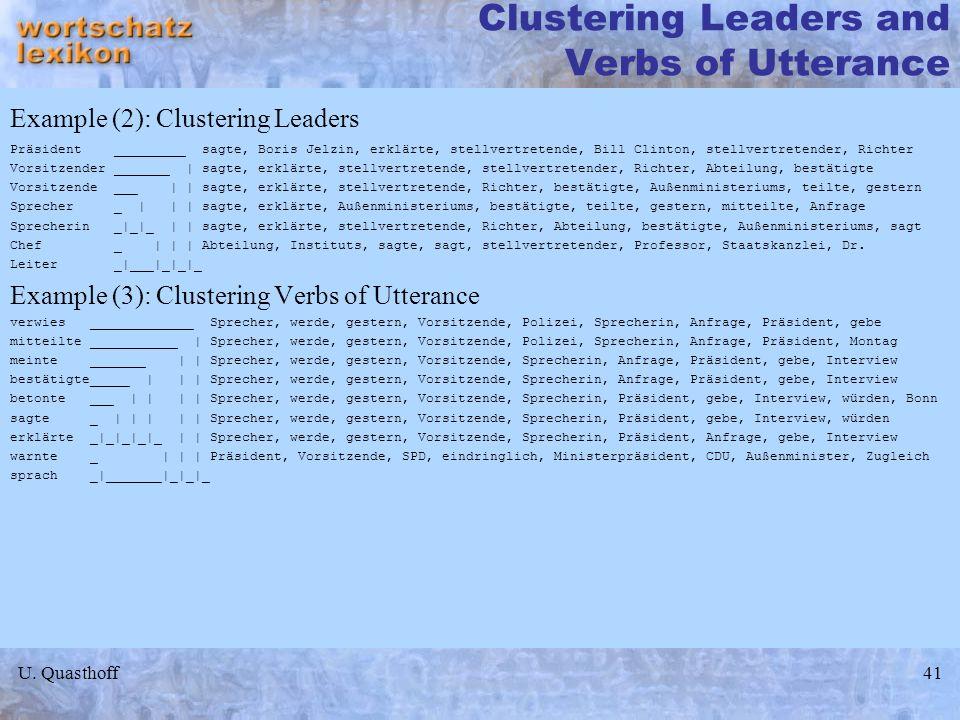 U. Quasthoff41 Clustering Leaders and Verbs of Utterance Example (2): Clustering Leaders Präsident _________ sagte, Boris Jelzin, erklärte, stellvertr