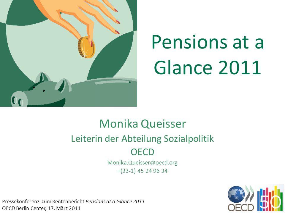 Pensions at a Glance 2011 Monika Queisser Leiterin der Abteilung Sozialpolitik OECD Monika.Queisser@oecd.org +(33-1) 45 24 96 34 Pressekonferenz zum R