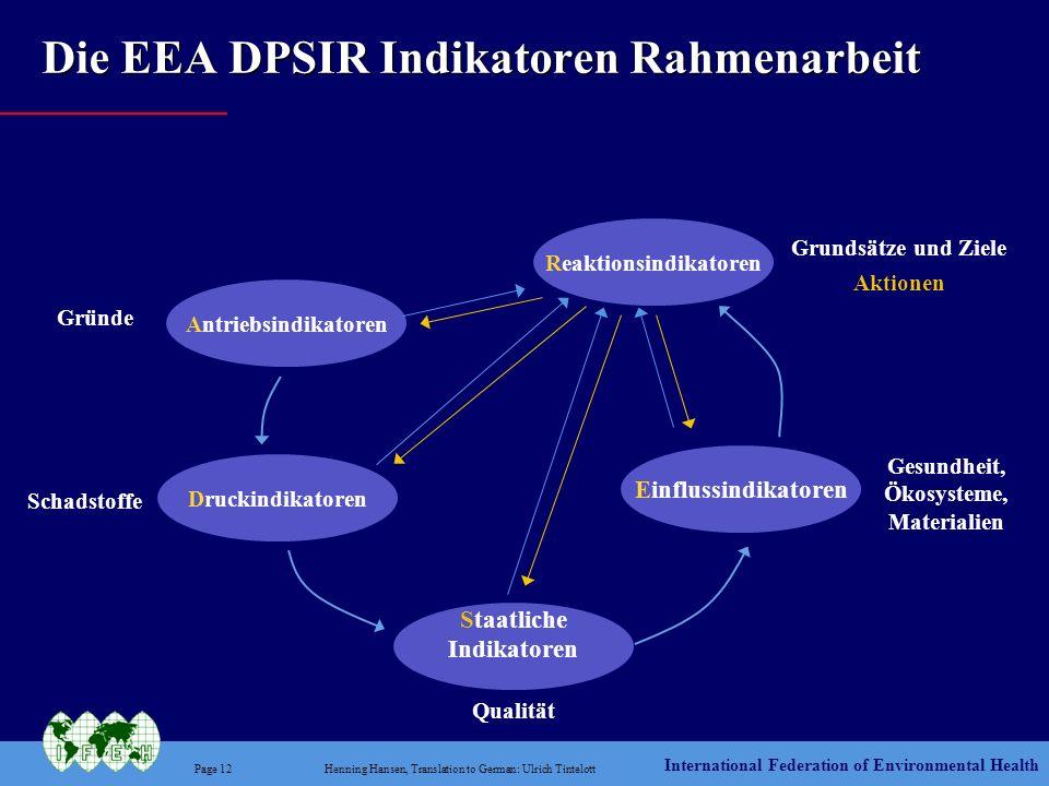 International Federation of Environmental Health Page 12Henning Hansen, Translation to German: Ulrich Tintelott Die EEA DPSIR Indikatoren Rahmenarbeit