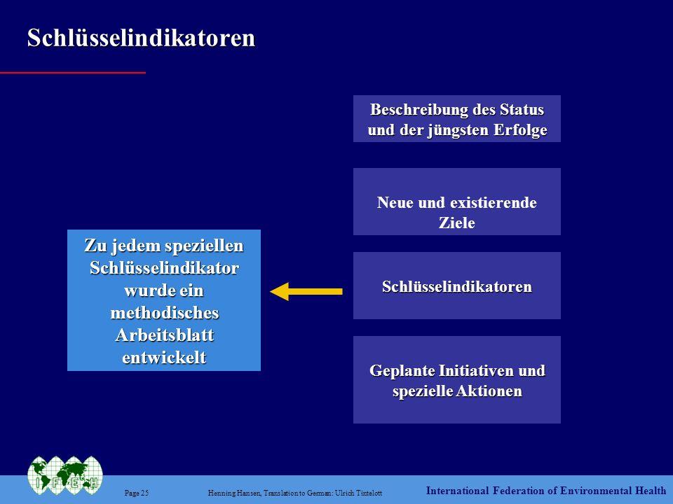 International Federation of Environmental Health Page 25Henning Hansen, Translation to German: Ulrich Tintelott Schlüsselindikatoren Beschreibung des