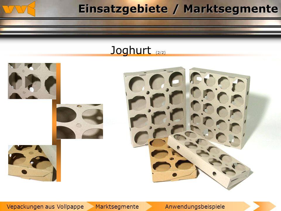 Einsatzgebiete / Marktsegmente Joghurt (1/2) AnwendungsbeispieleMarktsegmenteVepackungen aus Vollpappe