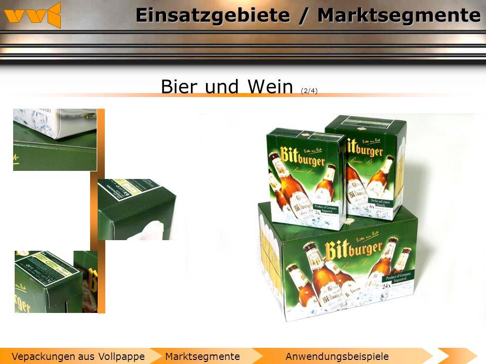 Einsatzgebiete / Marktsegmente Bier und Wein (1/4) AnwendungsbeispieleMarktsegmenteVepackungen aus Vollpappe