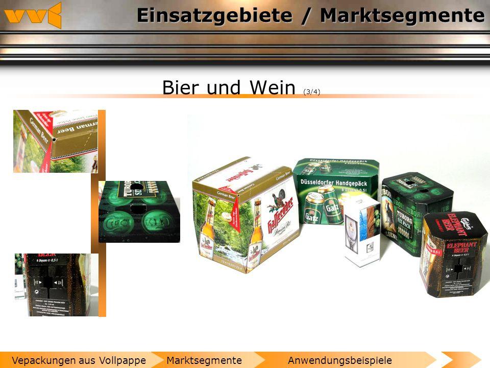 Einsatzgebiete / Marktsegmente Bier und Wein (2/4) AnwendungsbeispieleMarktsegmenteVepackungen aus Vollpappe