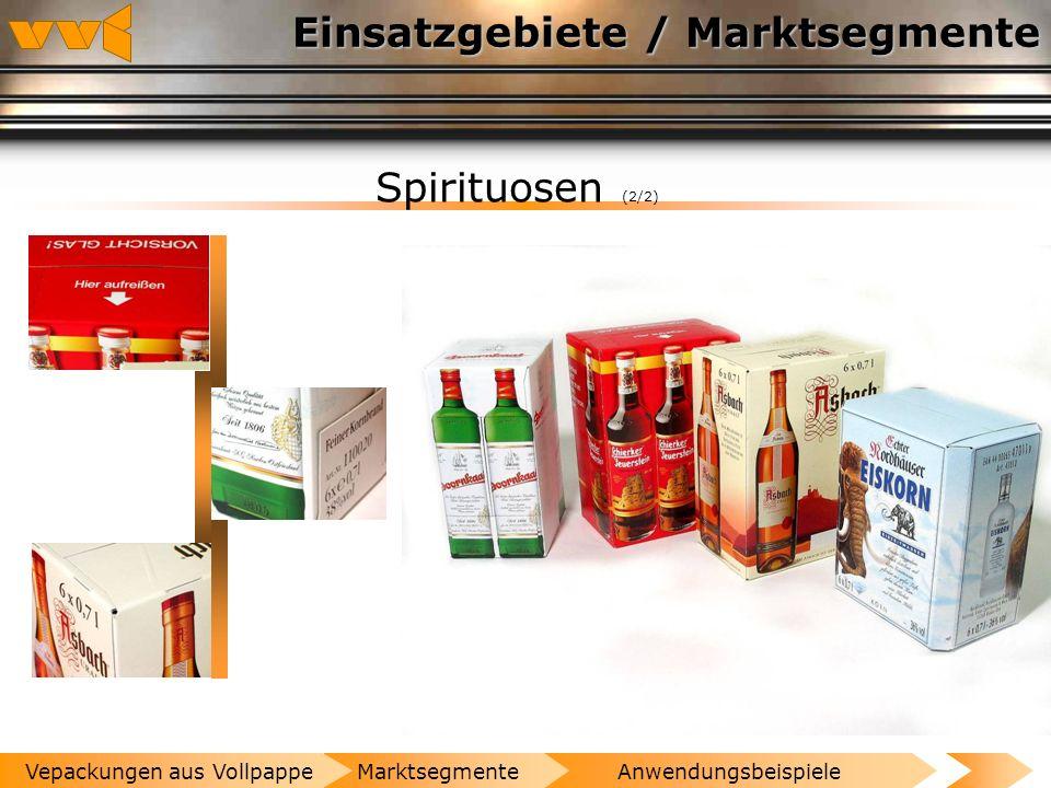 Einsatzgebiete / Marktsegmente Spirituosen (1/2) AnwendungsbeispieleMarktsegmenteVepackungen aus Vollpappe