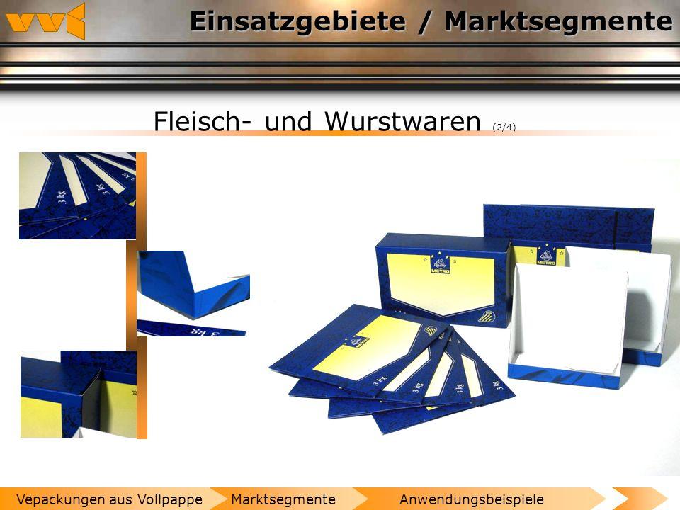 Einsatzgebiete / Marktsegmente Fleisch- und Wurstwaren (1/4) AnwendungsbeispieleMarktsegmenteVepackungen aus Vollpappe