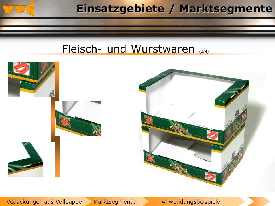 Einsatzgebiete / Marktsegmente Fleisch- und Wurstwaren (2/4) AnwendungsbeispieleMarktsegmenteVepackungen aus Vollpappe