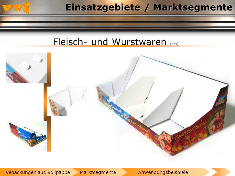 Einsatzgebiete / Marktsegmente Fleisch- und Wurstwaren (3/4) AnwendungsbeispieleMarktsegmenteVepackungen aus Vollpappe