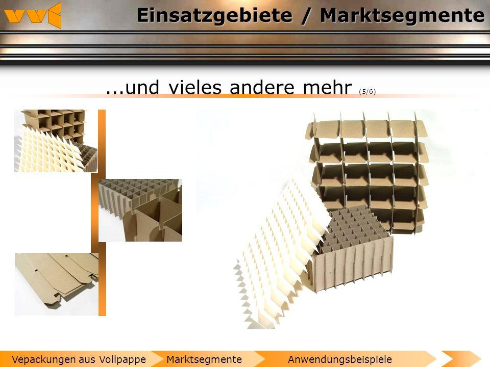Einsatzgebiete / Marktsegmente...und vieles andere mehr (4/6) AnwendungsbeispieleMarktsegmenteVepackungen aus Vollpappe