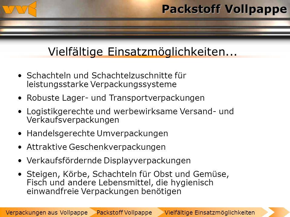 Packstoff Vollpappe Vielfältige Einsatzmöglichkeiten Altpapier wichtigster Rohstoff Homogenes Material Flächengewicht 500 bis 3000 g / m² Packstoff Vo