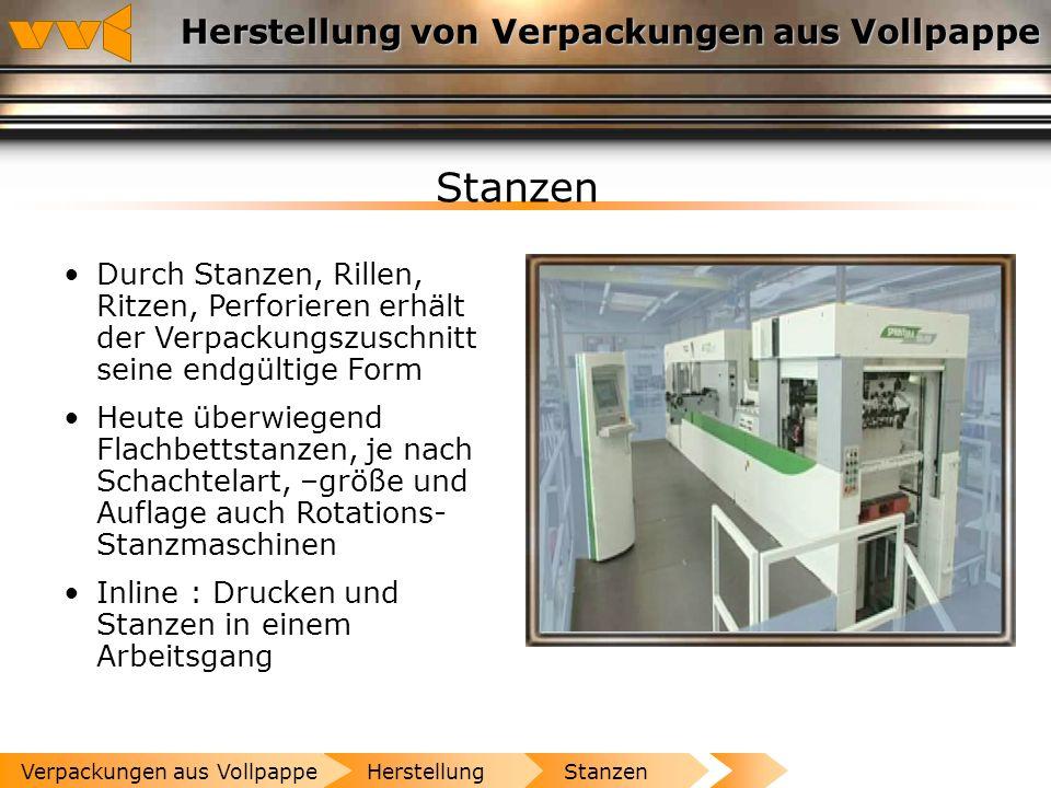 Herstellung von Verpackungen aus Vollpappe Drucken Offset-, Flexo- und Tiefdruckverfahren Druckveredelung, z.B. durch Lackierung DruckenHerstellungVer