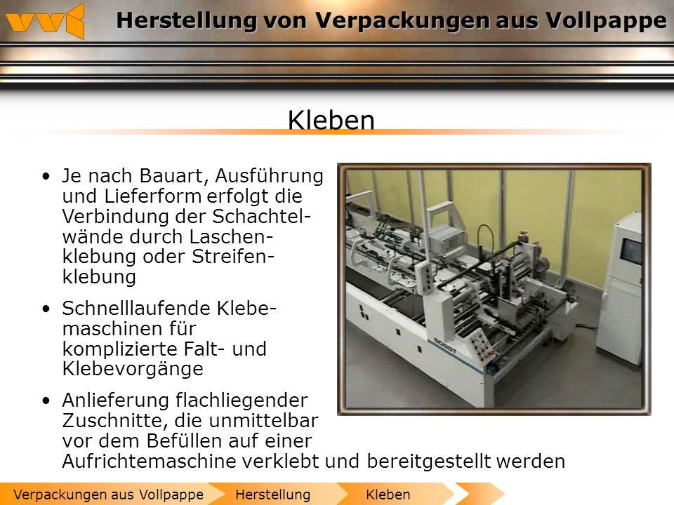 Herstellung von Verpackungen aus Vollpappe Stanzen Durch Stanzen, Rillen, Ritzen, Perforieren erhält der Verpackungszuschnitt seine endgültige Form He