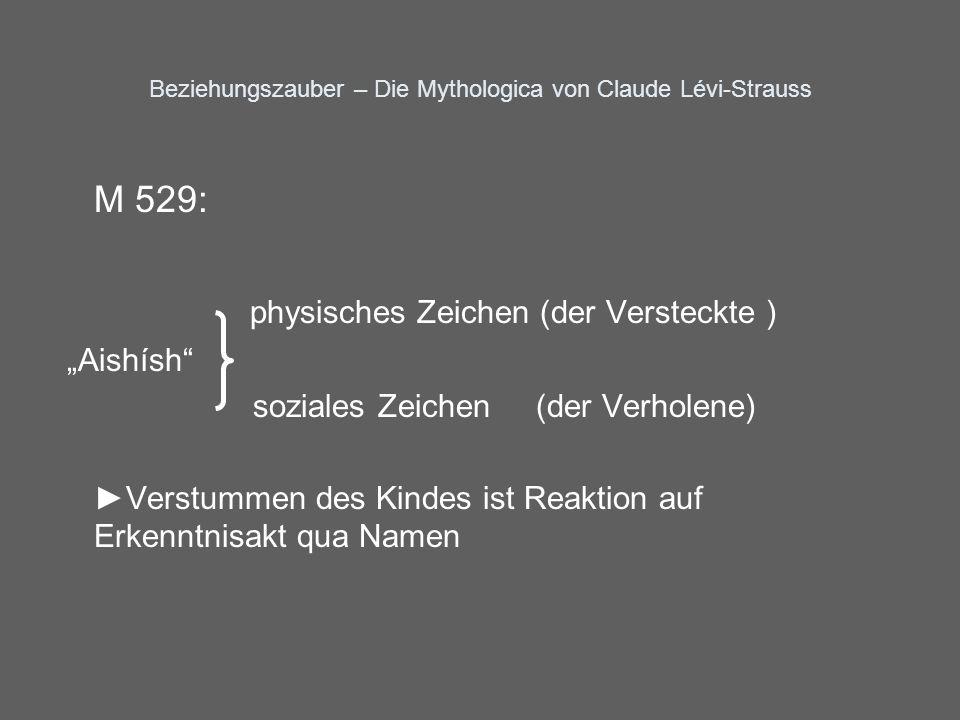 Beziehungszauber – Die Mythologica von Claude Lévi-Strauss M 529: physisches Zeichen (der Versteckte ) Aishísh soziales Zeichen (der Verholene) Verstu