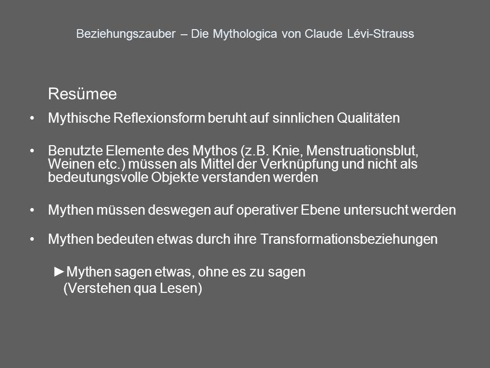 Beziehungszauber – Die Mythologica von Claude Lévi-Strauss Resümee Mythische Reflexionsform beruht auf sinnlichen Qualitäten Benutzte Elemente des Myt