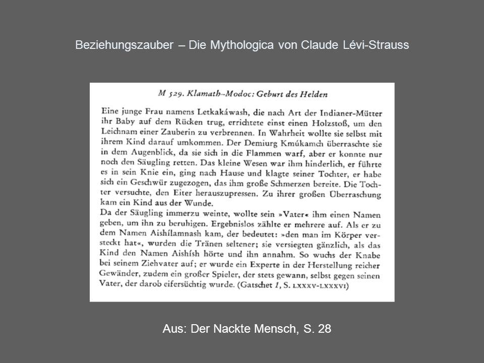 Beziehungszauber – Die Mythologica von Claude Lévi-Strauss Drei Motive in M 529: 1.Motiv der Selbstverbrennung 2.Motiv des schwangeren Mannes 3.Motiv des verstummenden Kindes