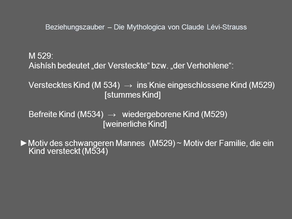 Beziehungszauber – Die Mythologica von Claude Lévi-Strauss M 529: Aishísh bedeutet der Versteckte bzw. der Verhohlene: Verstecktes Kind (M 534) ins Kn