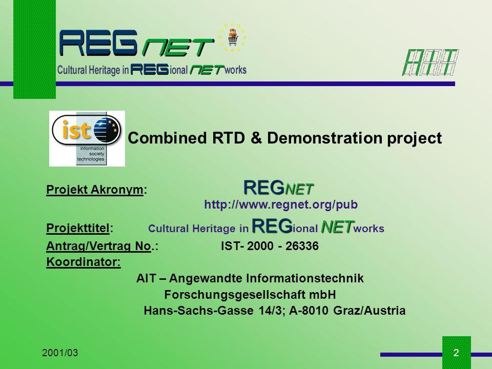 2001/032 Combined RTD & Demonstration project REG NET Projekt Akronym: REG NET http://www.regnet.org/pub REG NET Projekttitel: Cultural Heritage in REG ional NET works Antrag/Vertrag No.: IST- 2000 - 26336 Koordinator: AIT – Angewandte Informationstechnik Forschungsgesellschaft mbH Hans-Sachs-Gasse 14/3; A-8010 Graz/Austria