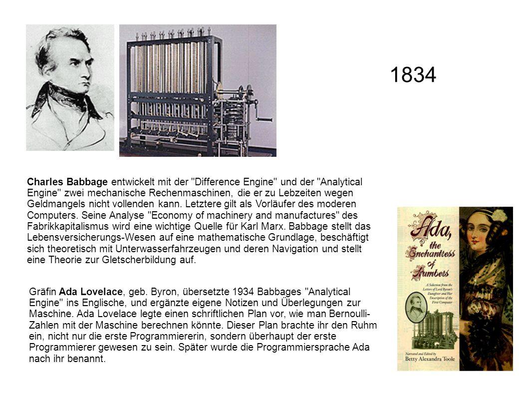 Charles Babbage entwickelt mit der