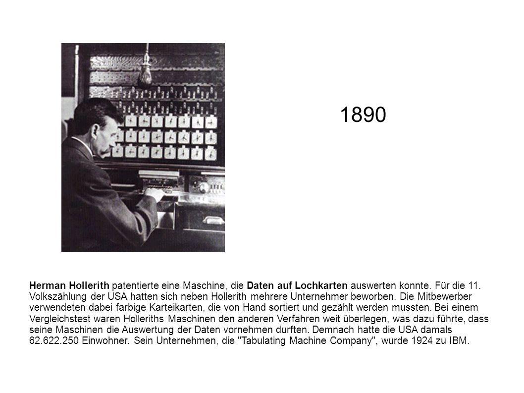 Herman Hollerith patentierte eine Maschine, die Daten auf Lochkarten auswerten konnte. Für die 11. Volkszählung der USA hatten sich neben Hollerith me