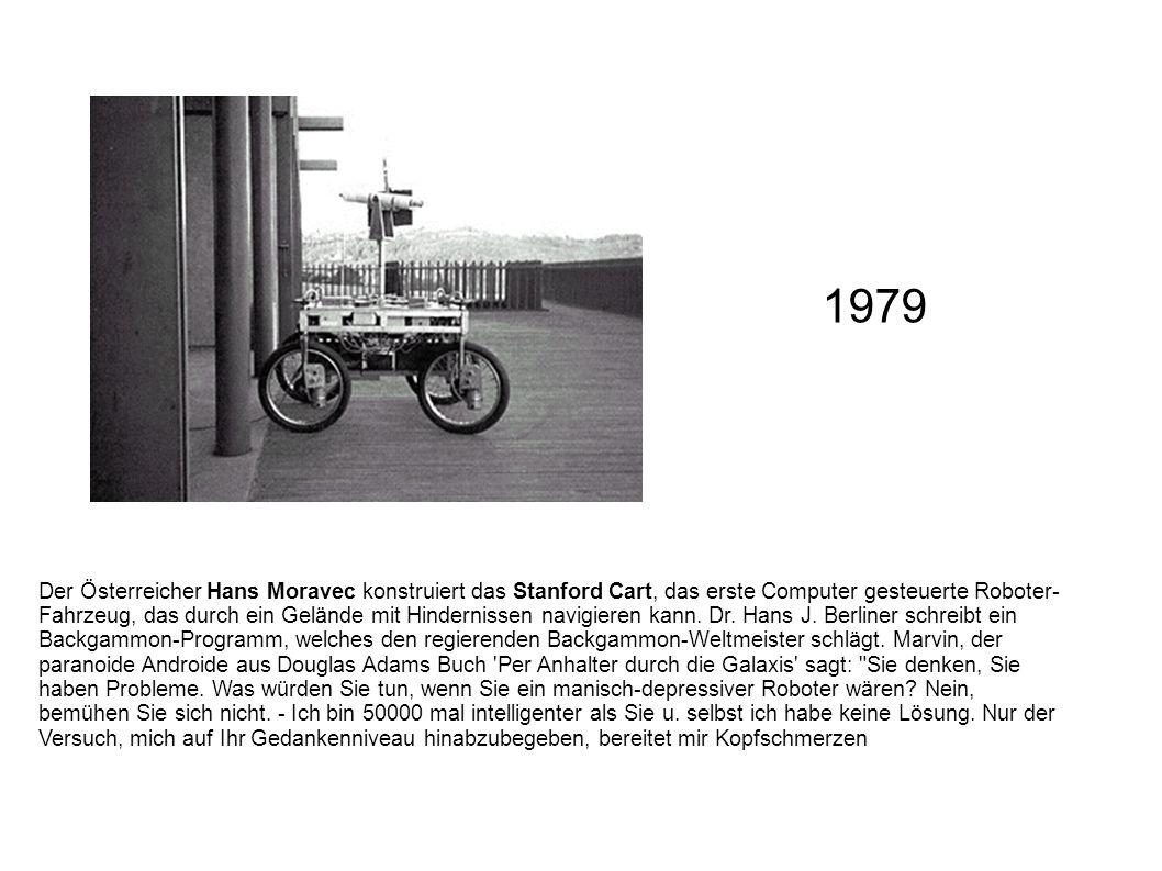 Der Österreicher Hans Moravec konstruiert das Stanford Cart, das erste Computer gesteuerte Roboter- Fahrzeug, das durch ein Gelände mit Hindernissen n
