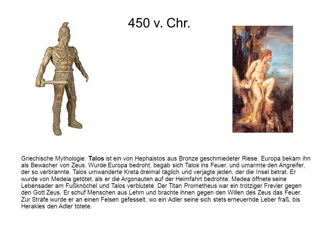 Griechische Mythologie: Talos ist ein von Hephaistos aus Bronze geschmiedeter Riese. Europa bekam ihn als Bewacher von Zeus. Wurde Europa bedroht, beg
