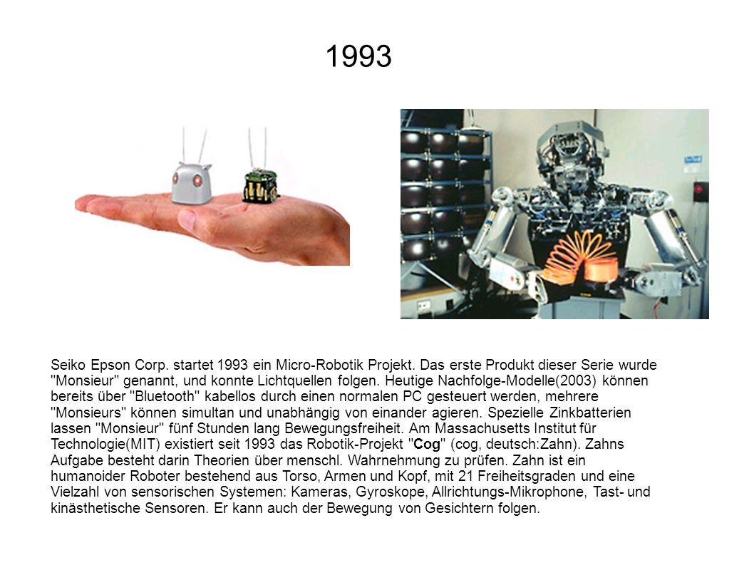 Seiko Epson Corp. startet 1993 ein Micro-Robotik Projekt. Das erste Produkt dieser Serie wurde