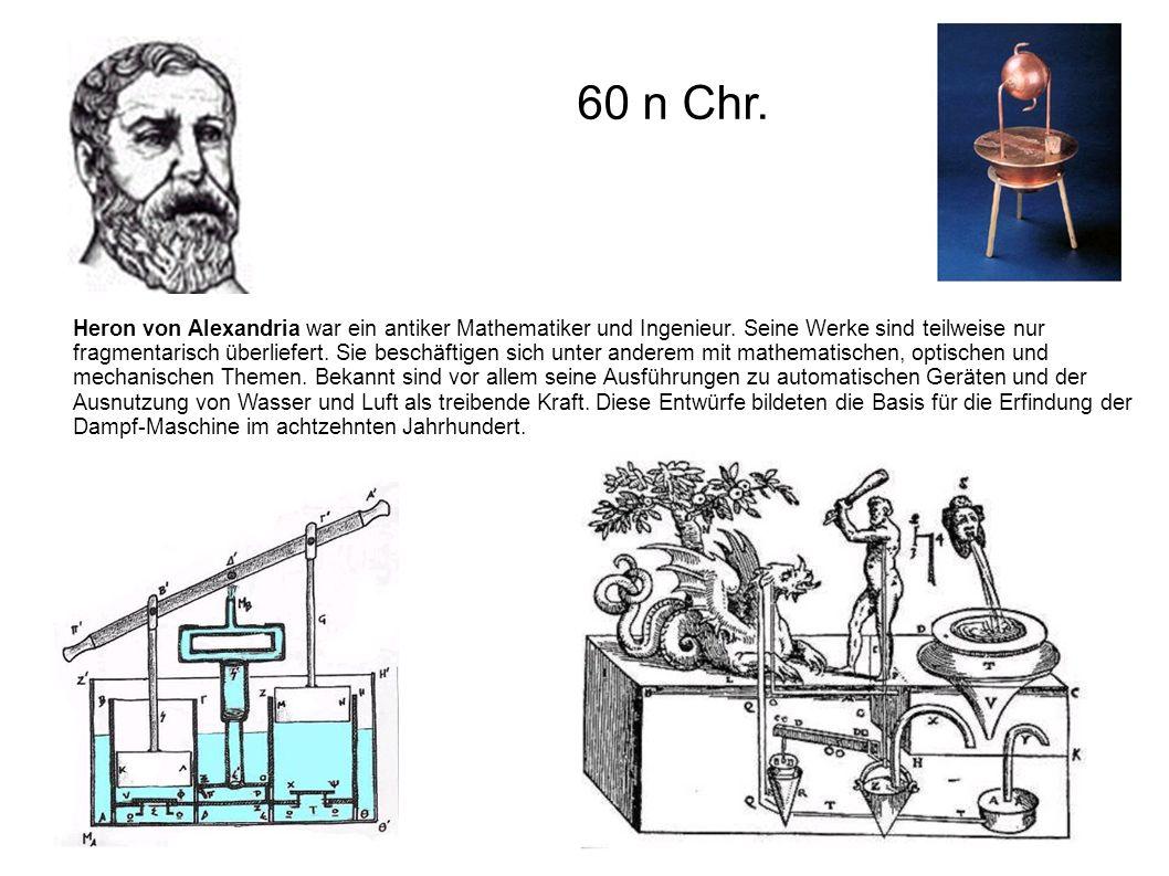 Heron von Alexandria war ein antiker Mathematiker und Ingenieur. Seine Werke sind teilweise nur fragmentarisch überliefert. Sie beschäftigen sich unte