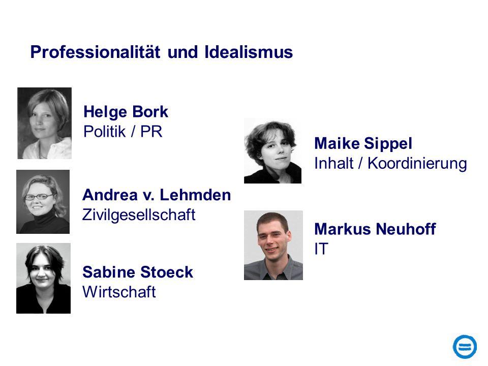 Markus Neuhoff IT Andrea v. Lehmden Zivilgesellschaft Sabine Stoeck Wirtschaft Maike Sippel Inhalt / Koordinierung Helge Bork Politik / PR Professiona