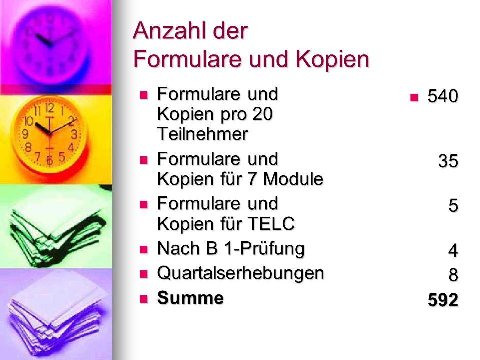 Anzahl der Formulare und Kopien Formulare und Kopien pro 20 Teilnehmer Formulare und Kopien pro 20 Teilnehmer Formulare und Kopien für 7 Module Formul