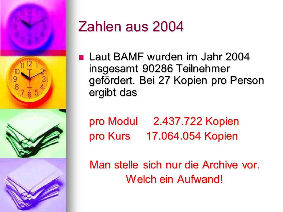Zahlen aus 2004 Laut BAMF wurden im Jahr 2004 insgesamt 90286 Teilnehmer gefördert. Bei 27 Kopien pro Person ergibt das Laut BAMF wurden im Jahr 2004