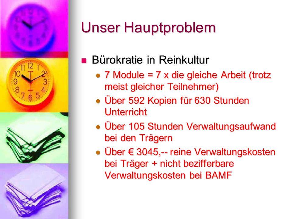 Unser Hauptproblem Bürokratie in Reinkultur Bürokratie in Reinkultur 7 Module = 7 x die gleiche Arbeit (trotz meist gleicher Teilnehmer) 7 Module = 7