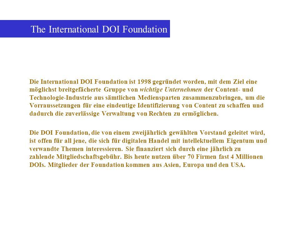 Die International DOI Foundation ist 1998 gegründet worden, mit dem Ziel eine möglichst breitgefächerte Gruppe von wichtige Unternehmen der Content- u