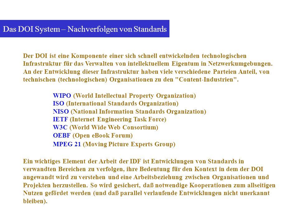 Das DOI System – Nachverfolgen von Standards Der DOI ist eine Komponente einer sich schnell entwickelnden technologischen Infrastruktur für das Verwal