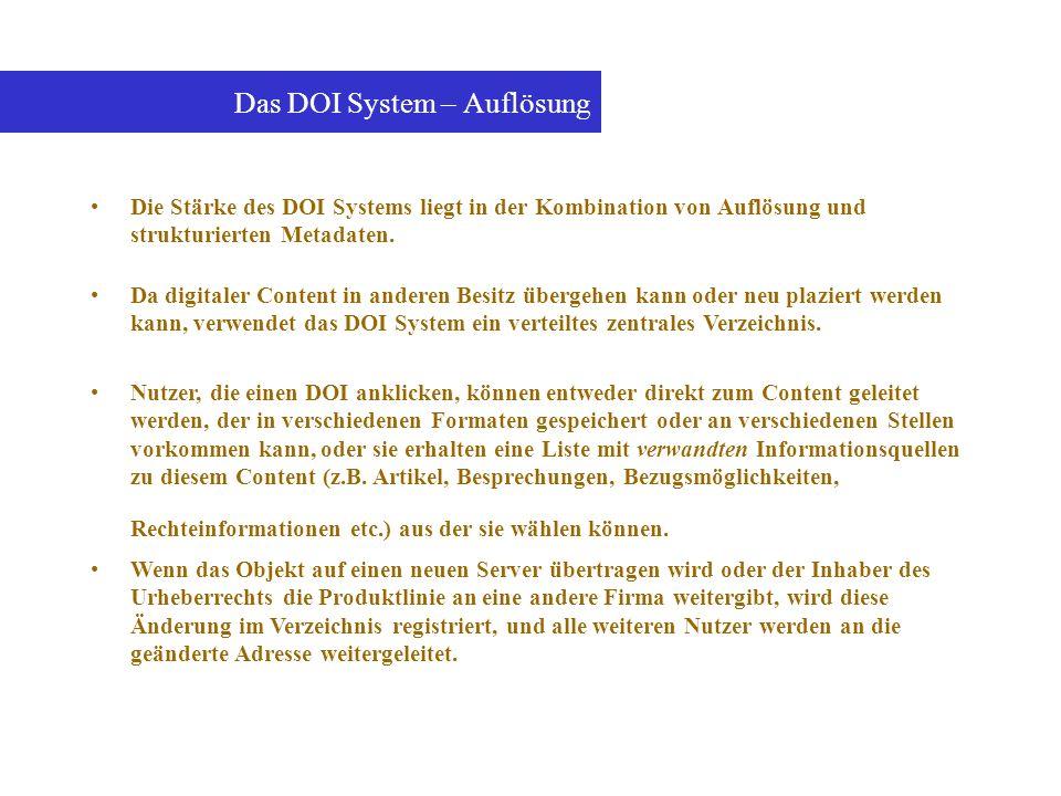 Die Stärke des DOI Systems liegt in der Kombination von Auflösung und strukturierten Metadaten. Das DOI System – Auflösung Da digitaler Content in and