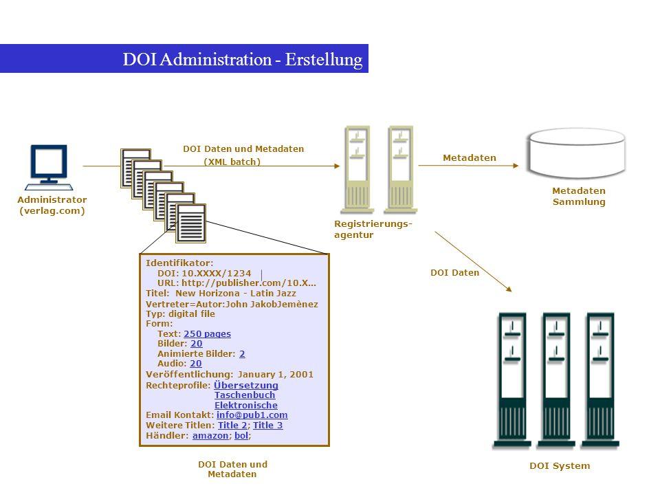 DOI Administration - Erstellung Administrator (verlag.com) Identifikator : DOI: 10.XXXX/1234 URL: http://publisher.com/10.X... Titel: New Horizona - L