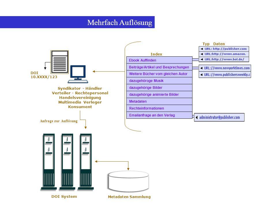 Mehrfach Auflösung Syndikator - Händler Verteiler - Rechtepersonal Handelsvereinigung Multimedia Verleger Konsument Anfrage zur Auflösung DOI System M