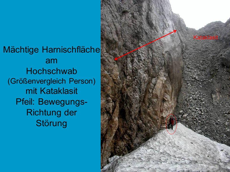 Mächtige Harnischfläche am Hochschwab (Größenvergleich Person) mit Kataklasit Pfeil: Bewegungs- Richtung der Störung Kataklasit
