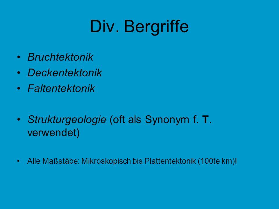 Div. Bergriffe Bruchtektonik Deckentektonik Faltentektonik Strukturgeologie (oft als Synonym f. T. verwendet) Alle Maßstäbe: Mikroskopisch bis Platten