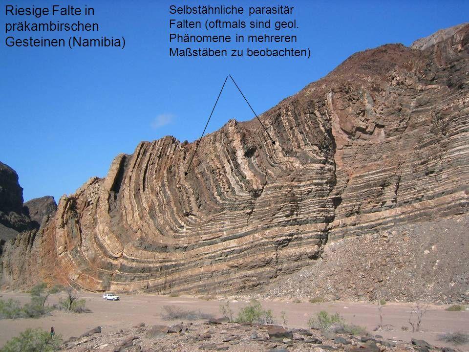 Riesige Falte in präkambirschen Gesteinen (Namibia) Selbstähnliche parasitär Falten (oftmals sind geol. Phänomene in mehreren Maßstäben zu beobachten)