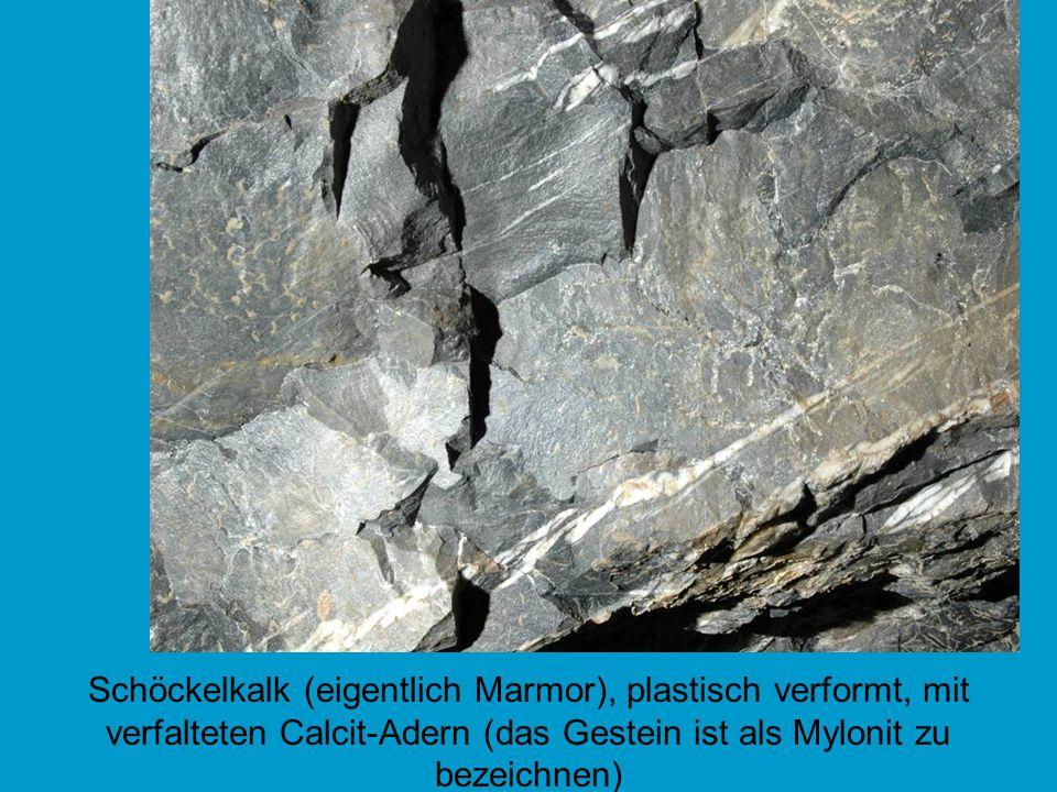 Schöckelkalk (eigentlich Marmor), plastisch verformt, mit verfalteten Calcit-Adern (das Gestein ist als Mylonit zu bezeichnen)