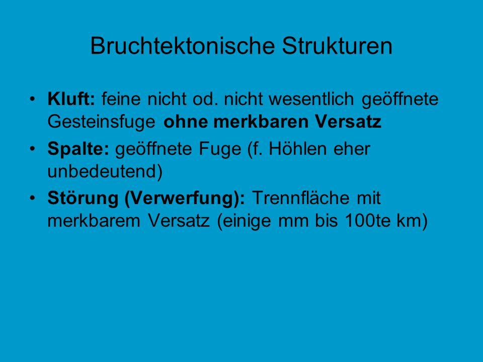 Bruchtektonische Strukturen Kluft: feine nicht od. nicht wesentlich geöffnete Gesteinsfuge ohne merkbaren Versatz Spalte: geöffnete Fuge (f. Höhlen eh