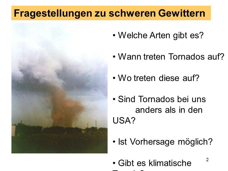 42 Einfluß der Geländestruktur In hügeligem Gelände entstehen kleinräumige Va-riationen des bodennahen Windfeldes Diese bestimmen stark die Windscherung, die ein Grundbestandteil der Tornadobildung ist Daher wird in Mittelgebirgen nahe beeinander ei- ne stark unterschiedliche Tornadohäufigkeit beobachtet Beispiel: Oberrheingraben in Süddeutschland