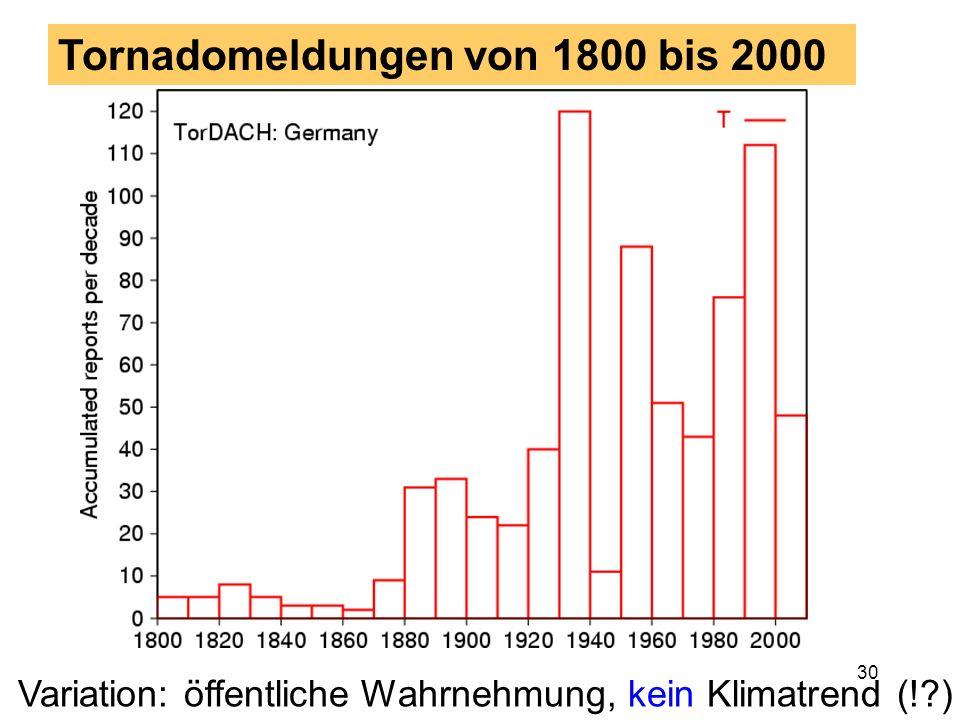 29 3. Teil: Klimatologie Klimatologische Daten des TorDACH-Netzwerks für Deutschland ergeben folgendes Bild: in etwa 10 Tornados pro Jahr Zahl der Dow
