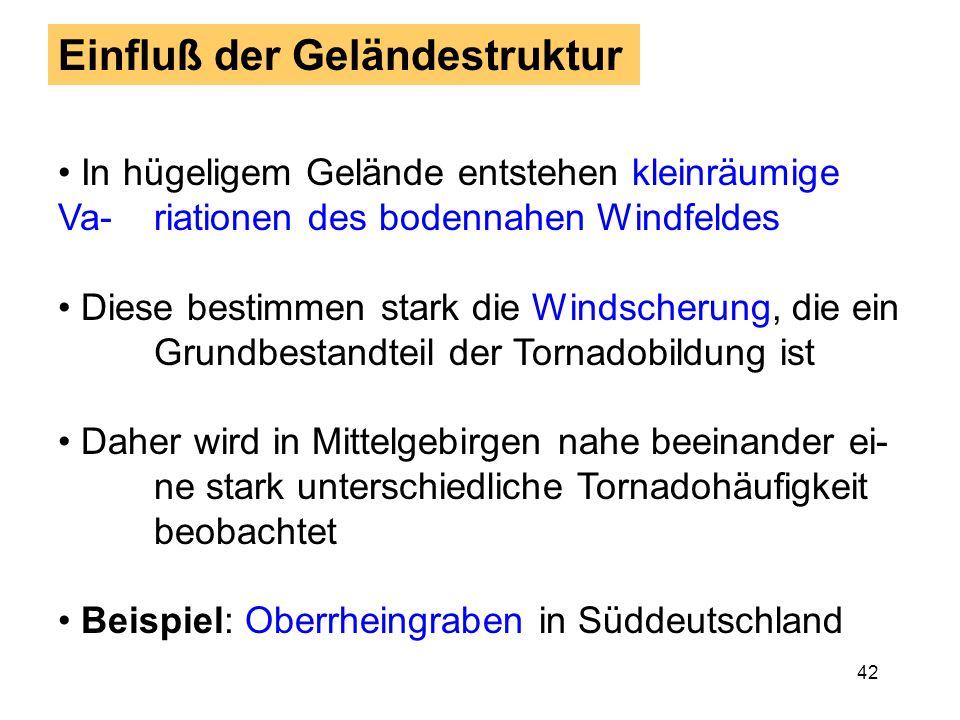 41 4. Teil: Anforderungen Kurzfristprognose Gute Vorhersage der großräumigen Wetterlage, d.h. ob und in welcher Region schwere Gewit-ter auftreten kön