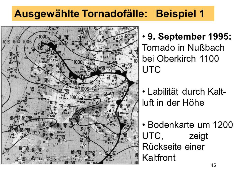 44 Entstehung der Tornado-Allee Blau: bodennaher Wind Rot: bodennaher Trans-port warmer Luft Grün: hor. Konvergenz Synoptische Situation mit großräumi