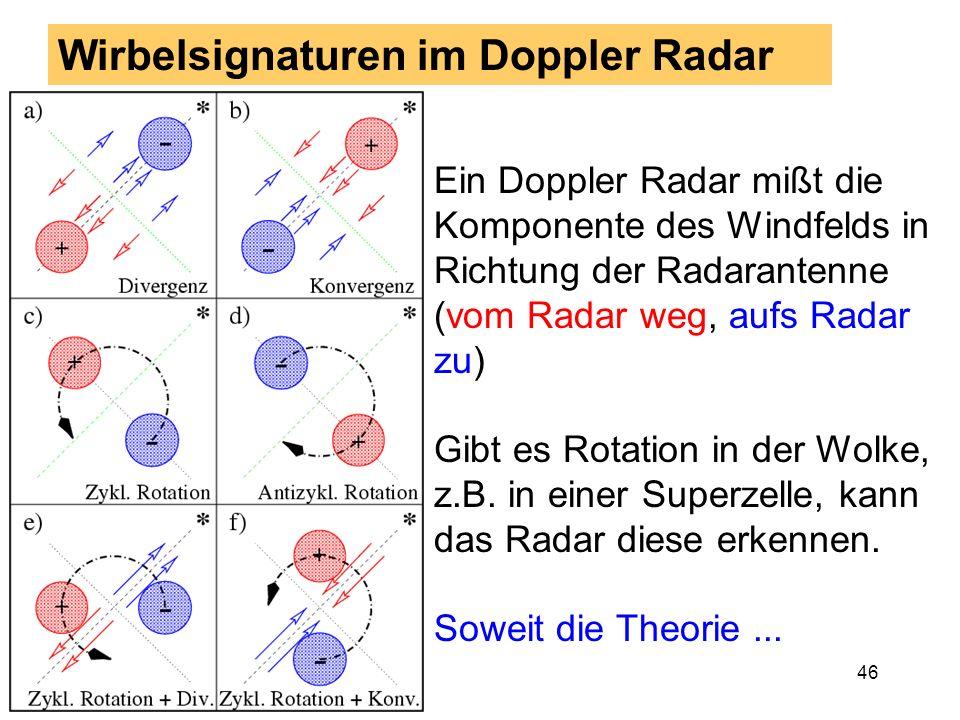 45 Ausgewählte Tornadofälle: Beispiel 1 9. September 1995: Tornado in Nußbach bei Oberkirch 1100 UTC Labilität durch Kalt- luft in der Höhe Bodenkarte