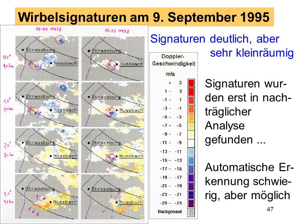 46 Wirbelsignaturen im Doppler Radar Ein Doppler Radar mißt die Komponente des Windfelds in Richtung der Radarantenne (vom Radar weg, aufs Radar zu) G