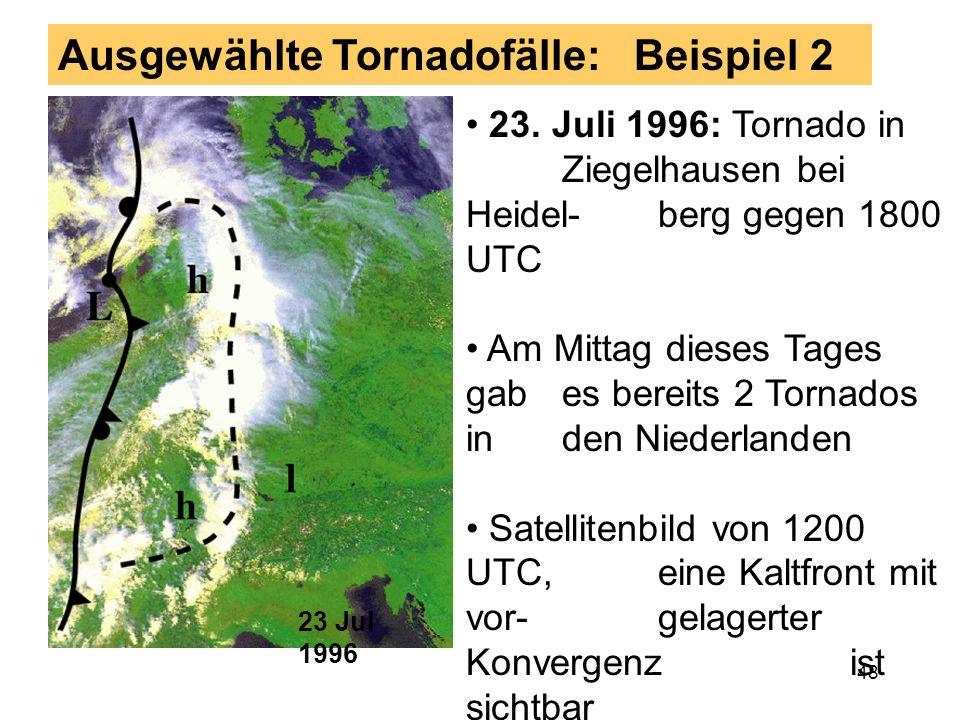 47 Wirbelsignaturen am 9. September 1995 Signaturen deutlich, aber sehr kleinräumig Signaturen wur- den erst in nach- träglicher Analyse gefunden... A