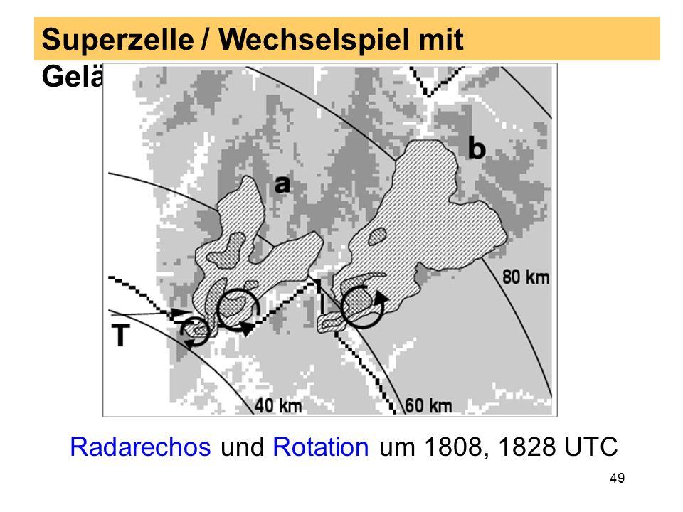 48 Ausgewählte Tornadofälle: Beispiel 2 23 Jul 1996 23. Juli 1996: Tornado in Ziegelhausen bei Heidel-berg gegen 1800 UTC Am Mittag dieses Tages gab e