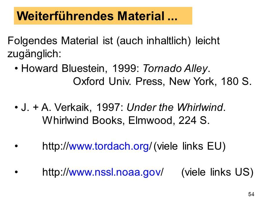 53 Zusammenfassung: Tornadoforschung Tornadoforschung in vielen europäischen Ländern nimmt wieder zu Eine professionelle Institution sollte in Europa