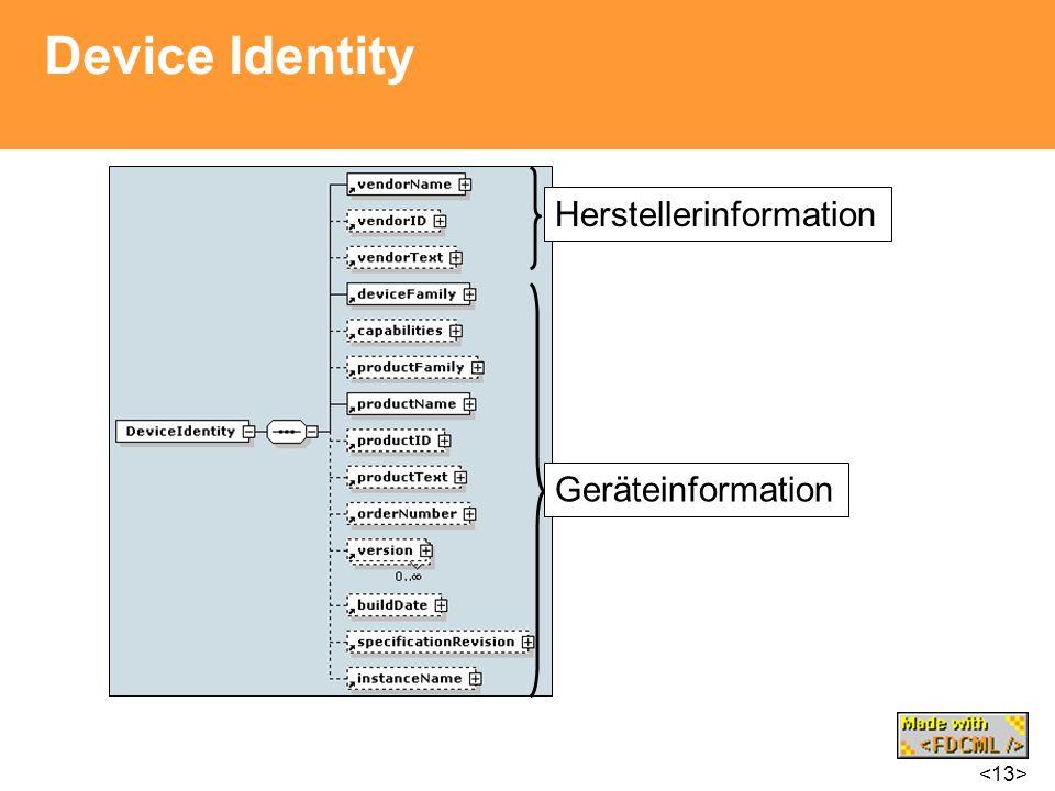 Device Identity Herstellerinformation Geräteinformation